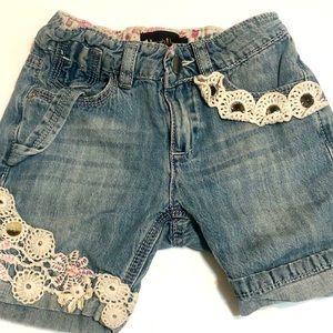 Hannah Banana Denim Jean Shorts w/ Lace Girls 4T
